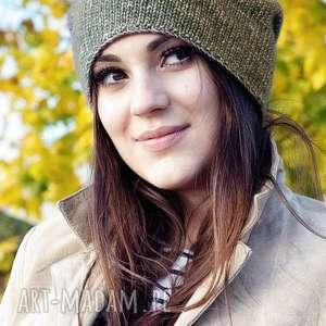 Jesienna brązowa czapki mondu dziergana, bawełniana, czapka