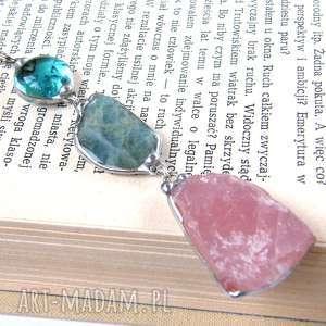 naszyjnik z długim wisiorem niebiesko-różowy, długi-wisiorek, wisiorek-z-kamieni
