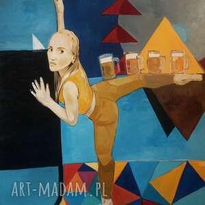 obraz olejny 140x120 tancerka oktoberfest, dekoracja, dom, wnętrze, ściana