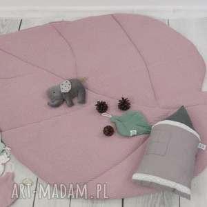 pokoik dziecka duża mata liść brudny róż waffle cotton, do zabawy