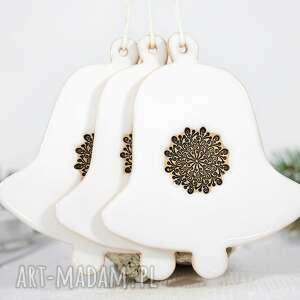 dekoracje 1 duży ceramiczny dzwonek choinkowy, biały dzwonek, ceramiczne dzwonki
