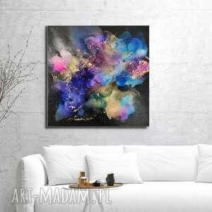 kosmiczna eksplozja obraz ręcznie malowany 70x70 cm, do salonu