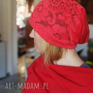 czapka koronkowa czerwona na podszewce, czapka, koronkowa, etno, wiosna, boho, orient