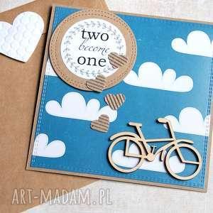 hand-made kartki rowerowa kartka ślubna: teal