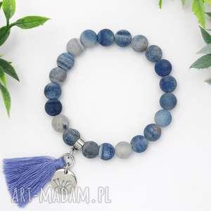 Bransoletka z kamieni naturalnych - Nature Blue Agate, bransoletka, agat, minerały