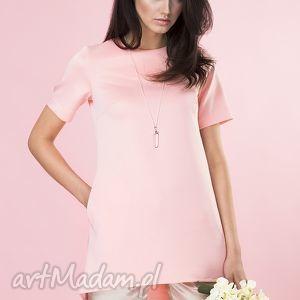 tuniki pudrowa tunika z kieszeniami, tunika, bluzka, elegancka, asymetryczna, wygodna