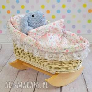 Wiklinowa kołyska dla lalek retro, kołyska, łóżeczko, wiklina, biały, różowy
