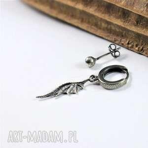 asymetryczne kolczyki smocze skrzydło ze srebra, skrzydło