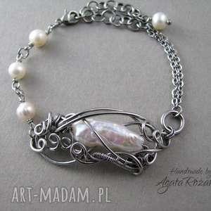 bransoletki bransoletka z perłami, wire wrapping, stal chirurgiczna, perła, perły