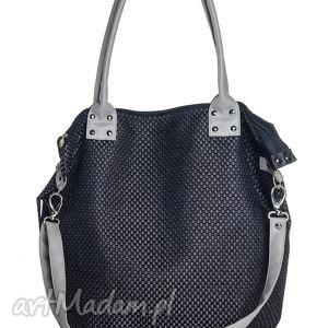 ręcznie zrobione na ramię torba worek plecionka black&gray
