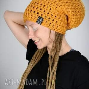 czapka dreadlove mono 15 - musztardowa, na dready, rasta, jamajka