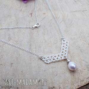 perłowa kropelka geometrycznie - naszyjnik, srebrny naszyjnik z perłą