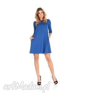 2-sukienka rozkloszowana szafir,krótka, lalu, sukienka, dzianina,