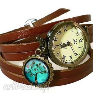 drzewo nadziei - zegarek bransoletka na skórzanym pasku - symboliczny
