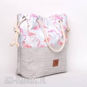 Torebka w kształcie worka we flamingi rączki ze sznurka , kolorowa, flamingi,