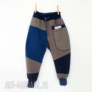 ręcznie wykonane ubranka patch pants spodnie 74 - 98 cm szary & niebieski