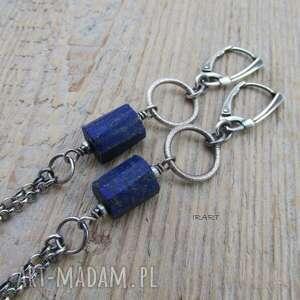 Surowy lapis lazuli - kolczyki irart srebro,