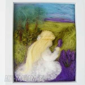 Prezent Lawendowe pole, lawenda, obraz, filcowanie, dekoracja, upominek, handmad
