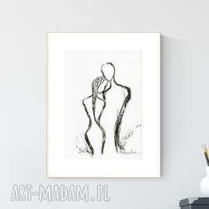 grafika a4 malowana ręcznie, minimalizm, abstrakcja czarno-biała, obrazy