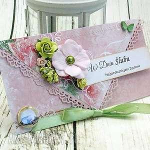Prezent kopertówka ślubna- wiosenne kwiaty, ślub, wesele, prezent, retro, kwiaty