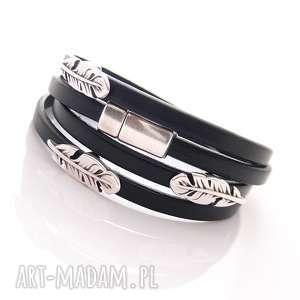 bransoletki bransoletka skórzana sevda, skóra, rzemienie, magnes, piórko biżuteria