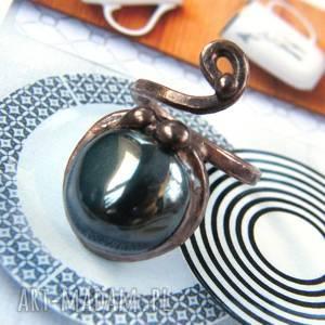 witrazka regulowany pierścionek z hematytem, regulowany, miedziany, hematyt
