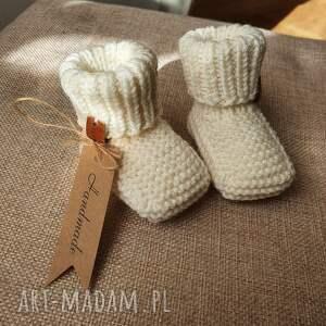handmade buciki skarpetki niemowlęce 100% wełna merino