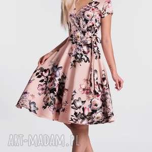 Sukienka VERA II Midi Weronika, kopertowa, sukienka, midi, kwiaty, rozkloszowana