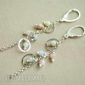 Kolczyki ze srebra i morganitu, lekkie, srebro, pastelowe, delikatne, kobiece