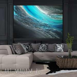 - turkusowa dolina obraz ręcznie malowany o fakturze 3d, 150x100 cm