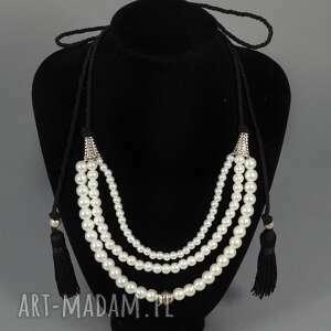 Kolia naszyjnik Tamara, perły, naszyjnik, elegancki, chwosty, kolia, korale