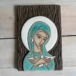 smokfa ikona ceramiczna z wizerunkiem maryi - pneumatofora, ikona, obraz, maryja