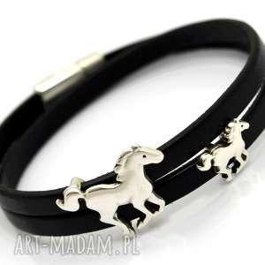ręczne wykonanie bransoletki bransoletka skóra magnetoos double horses black