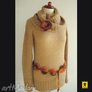 komplet broszka i pasek w kolorach jesieni - broszka, pasek, ażur, moher, komplet