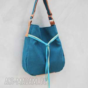 hand made na ramię simply bag - duża torba worek - turkus