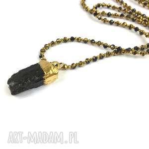 naszyjnik z czarnym turmalinem, hematytem i kryształkami turmalin, pozłacany