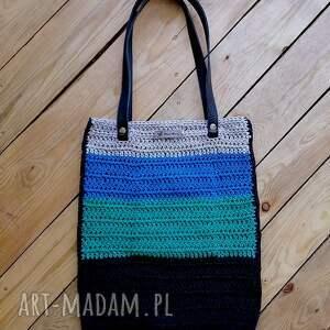 pasasta torba z bawełnianego sznurka, torba, torebka, szydełkowa naramię