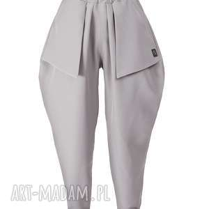 jasnoszare spodnie z kieszonkami, jasnoszare, duze, luzne, proste, minimalistyczne