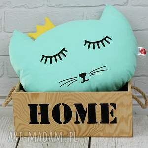 poduszka kotek z koroną - mętowy - kot, poduszka ozdobna, dla dziecka