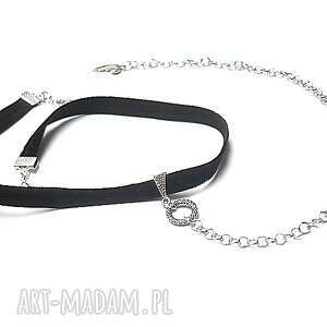 święta prezent, choker - smycz black , choker, aksamitka, metal biżuteria