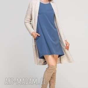 Sukienka z dłuższym tyłem, SUK148 niebieski, casual, elegancka, rozkloszowana