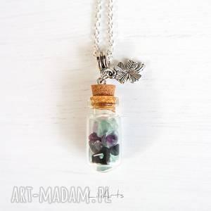 liliarts naszyjnik - kolorowy mix szklana fiolka, koniczynka