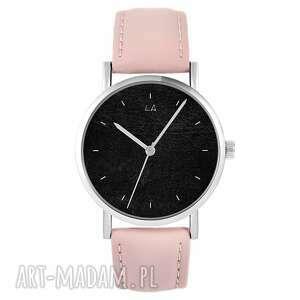 zegarki zegarek - czarny pudrowy róż, skórzany, zegarek, pasek