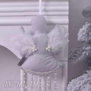 aniołek świąteczny szary, dekoraja-świąteczna, święta, aniołek-świąteczny