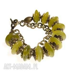 ręcznie wykonane bransoletka z oliwkowego jadeitu b464