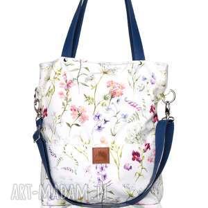 piękna jasna torebka w kwiatowy wzór - łąka, jasna, duża, pojemna, prostokątna