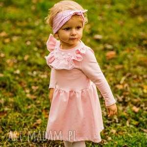 Sukienka z falbanką i pomponikami Melanie Pink, pompony, pomponiki, falbanka