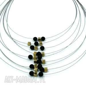 naszyjnik czarno-złoty onyks i hematyt na lineczkach, naszyjnik