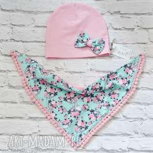 bukiet pasji cienki komplet dla dziewczynki czapka i komin/trójkąt, czapka, pinup