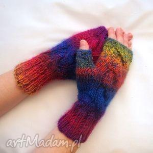mitenki tĘczowe - modne, ciepłe, kolorowe, dziergane